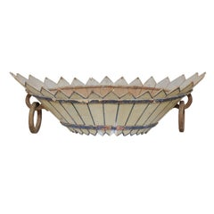 Unique French Large Wood Antique Basket with Light Green Pickets