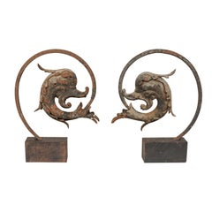 French Early 19th Century Mythological Dolphin Fish on Stands, Iron with Patina