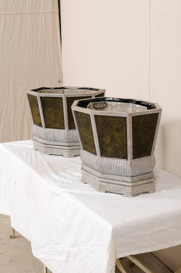 Pair of Unique Swedish Planters of Wood, Wire and Stone with Moss Inside, 1920s In Good Condition For Sale In Atlanta, GA