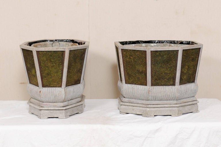 20th Century Pair of Unique Swedish Planters of Wood, Wire and Stone with Moss Inside, 1920s For Sale