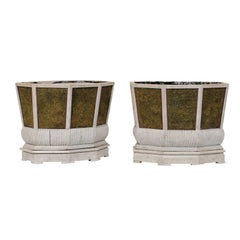 Pair of Unique Swedish Planters of Wood, Wire and Stone with Moss Inside, 1920s