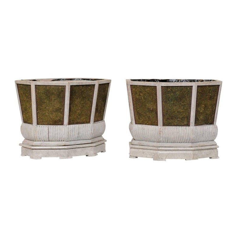 Pair of Unique Swedish Planters of Wood, Wire and Stone with Moss Inside, 1920s For Sale
