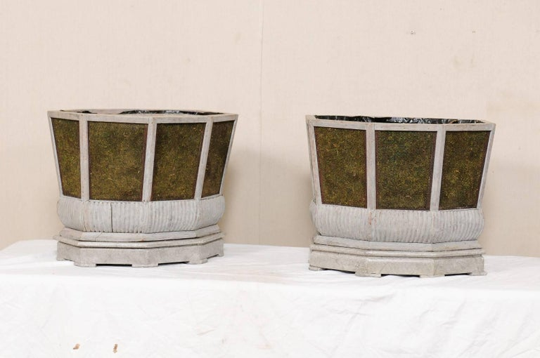 Pair of Unique Swedish Planters of Wood, Wire and Stone with Moss Inside, 1920s For Sale 2