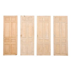 Set of Four French Single Light Wood Antique Doors from the 19th Century