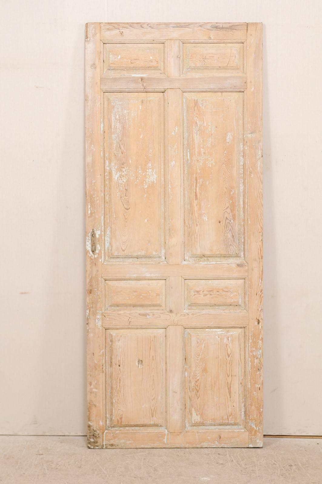 Single French 19th Century, Eight Panel Door With Natural Pale Wood Finish
