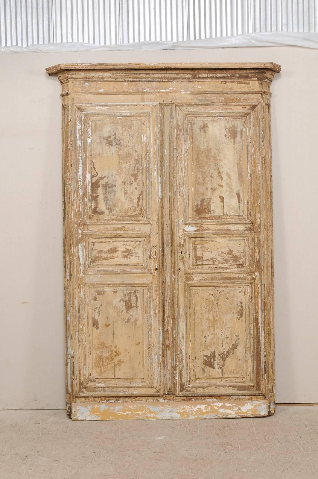 A Pair Of Early 19th Century Italian Doors Within Their Original Carved  Wood Casing. This