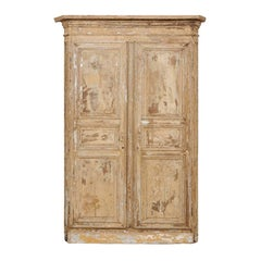 An Italian Pair of Early 19th C. Wood Doors Within Original Casing & Molding