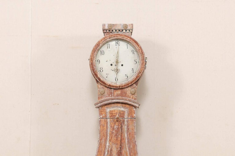 Th century swedish wood floor clock with lovely carved