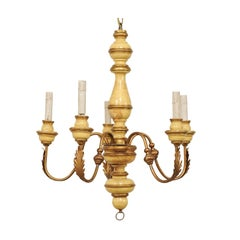 French Five-Light Painted Wood and Metal Chandelier with Warm Beige & Gold Tones