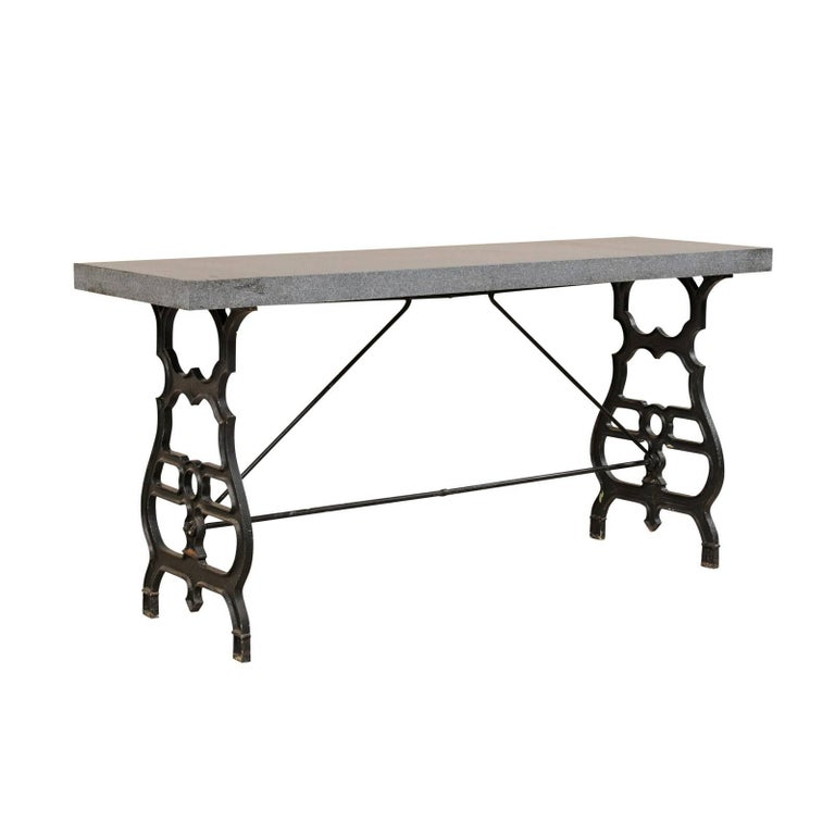 French Iron & Granite Early 20th Century Console / Desk Table in Black and Grey