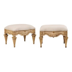 Pair of Italian Style Carved Ash Wood Upholstered Vintage Stools