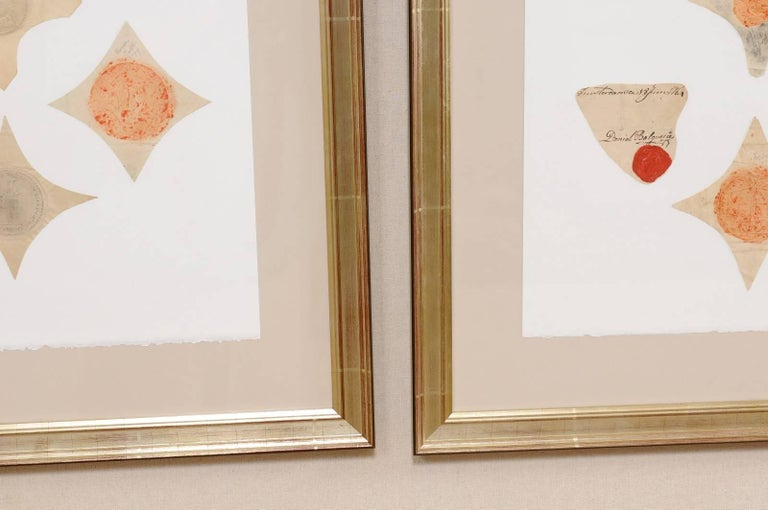 Single Frame with 18th Century Original Swedish Seals Artfully Displayed For Sale 5