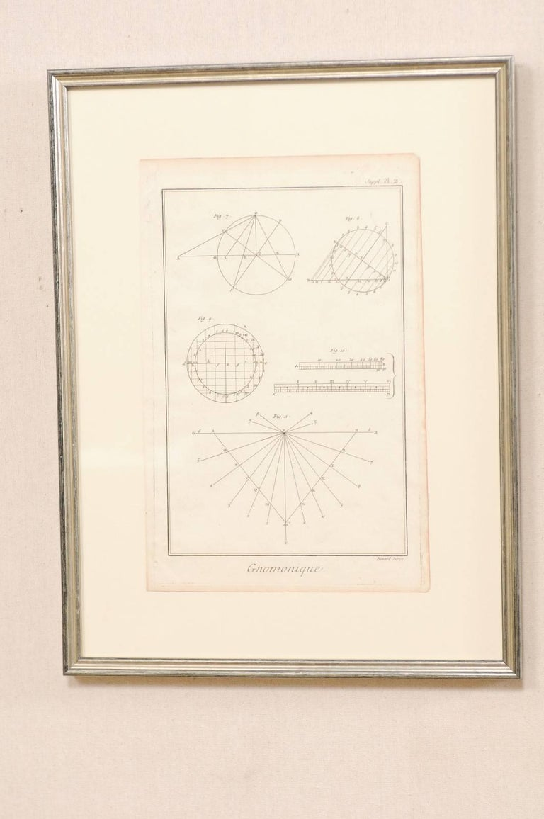 Painted Pair of French Astronomy and Geometric Renderings by Artist Bernard Direx For Sale