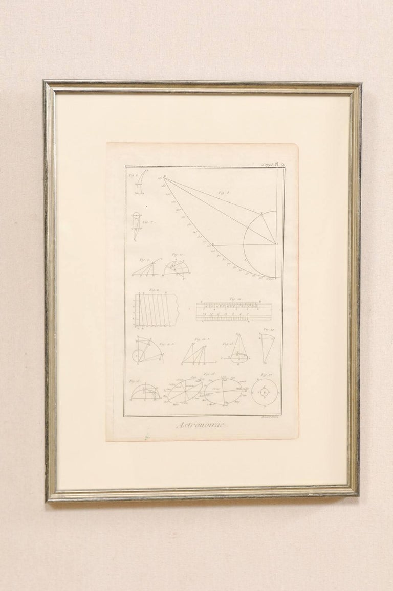 Pair of French Astronomy and Geometric Renderings by Artist Bernard Direx In Good Condition For Sale In Atlanta, GA
