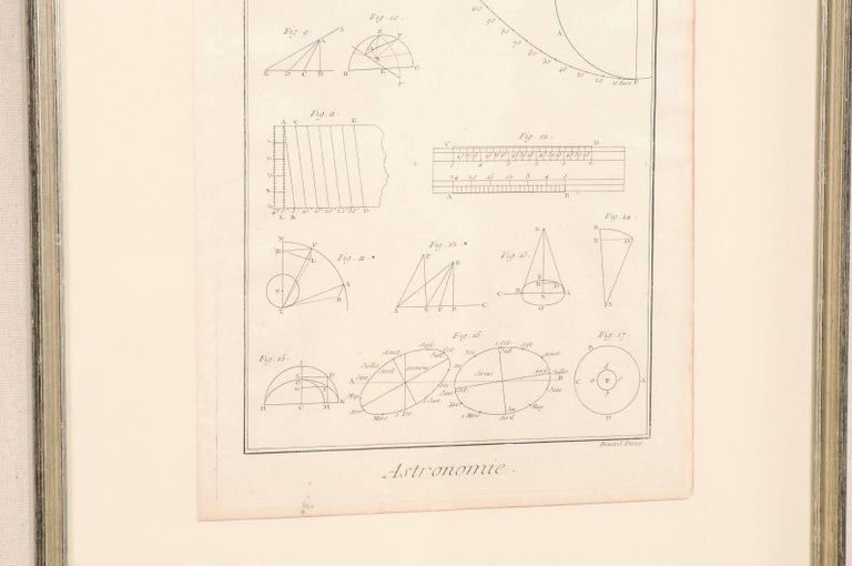 Wood Pair of French Astronomy and Geometric Renderings by Artist Bernard Direx For Sale