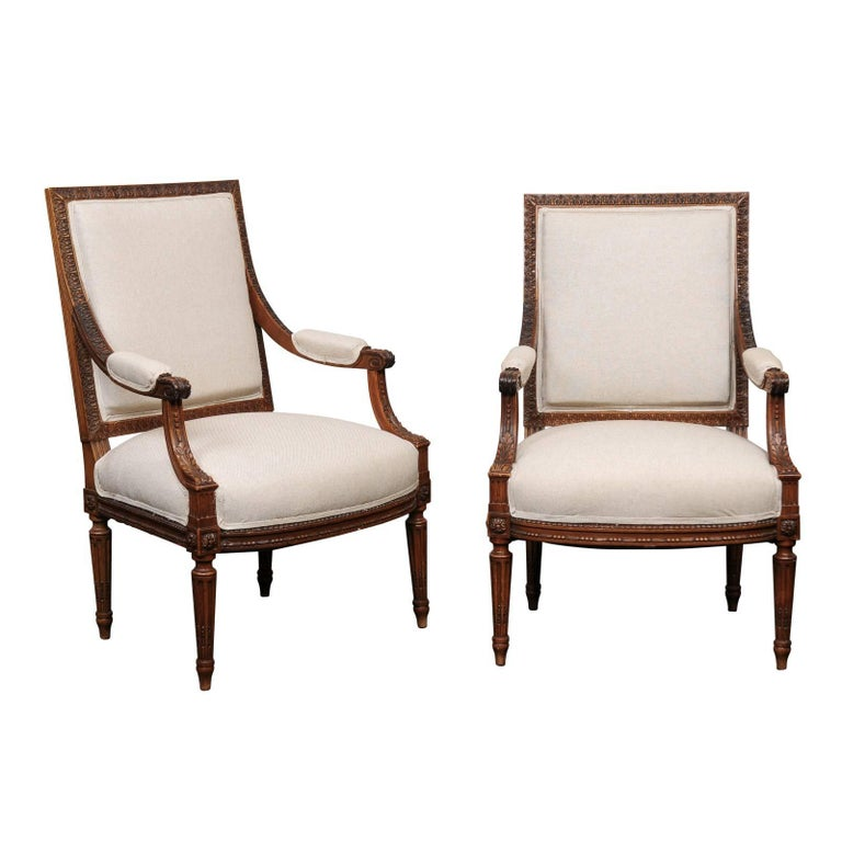 Pair of Mid-20th Century French Louis XVI Style Armchairs of Carved Wood