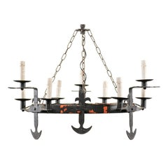French Ring Shaped Iron Chandelier from the Mid-20th Century with Anchor Motifs