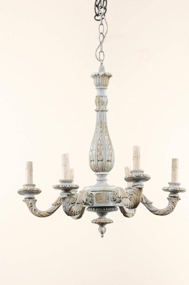 French vintage richly carved and painted wood six arm chandelier in french vintage richly carved and painted wood six arm chandelier in soft blue in good aloadofball Images