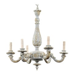 French Vintage Richly Carved and Painted Wood Six-Arm Chandelier in Soft Blue