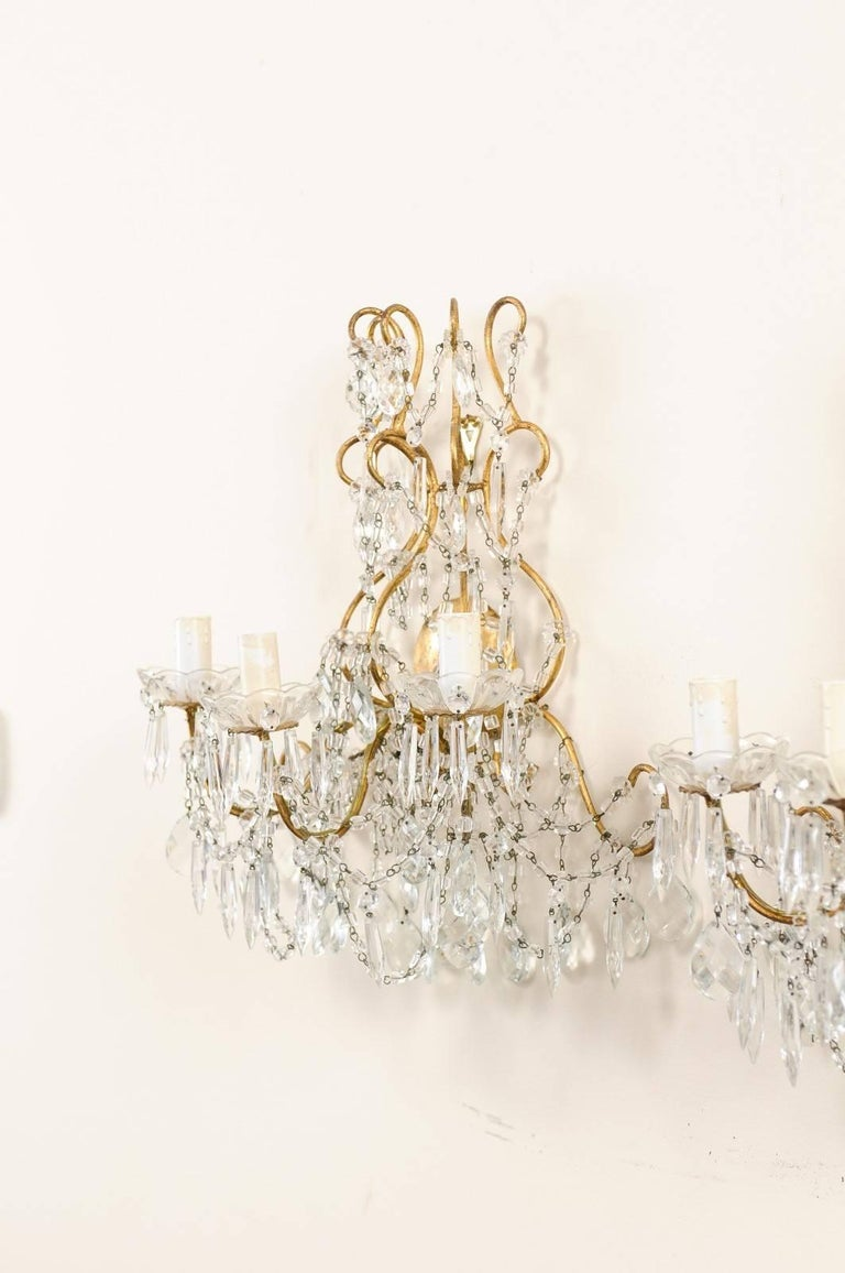 Italian Pair of Ornately Decorated Crystal & Gilded Metal Three-Light Sconces In Good Condition For Sale In Atlanta, GA