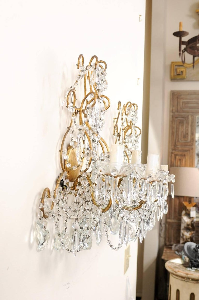 Italian Pair of Ornately Decorated Crystal & Gilded Metal Three-Light Sconces For Sale 4