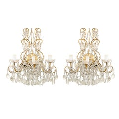 Pair of Italian Vintage Three-Light Ornate Crystal and Gilded Metal Sconces