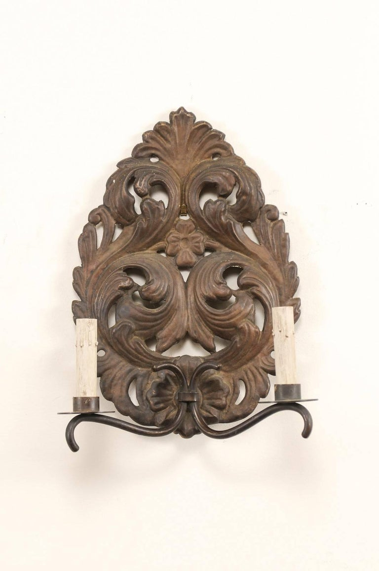 Patinated Pair of Italian Tole Two-Light Sconces with Scrolling Acanthus Leaf Backplates For Sale