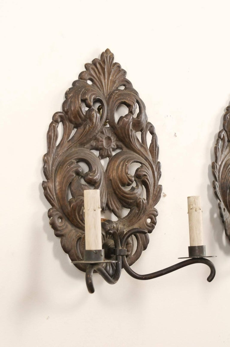 20th Century Pair of Italian Tole Two-Light Sconces with Scrolling Acanthus Leaf Backplates For Sale