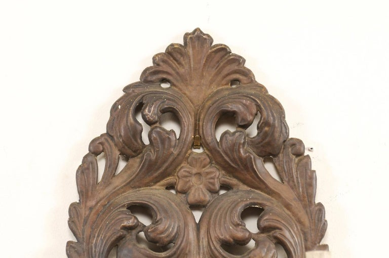 Pair of Italian Tole Two-Light Sconces with Scrolling Acanthus Leaf Backplates For Sale 1
