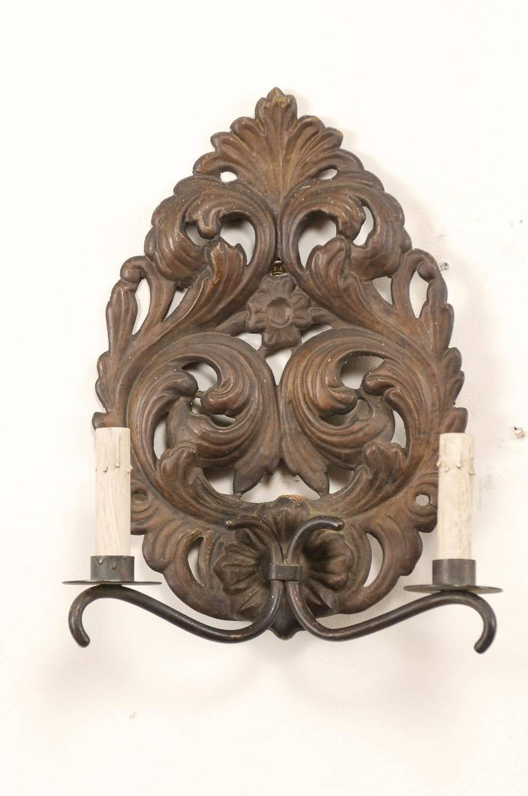 Pair of Italian Tole Two-Light Sconces with Scrolling Acanthus Leaf Backplates In Good Condition For Sale In Atlanta, GA