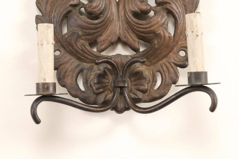 Pair of Italian Tole Two-Light Sconces with Scrolling Acanthus Leaf Backplates For Sale 2