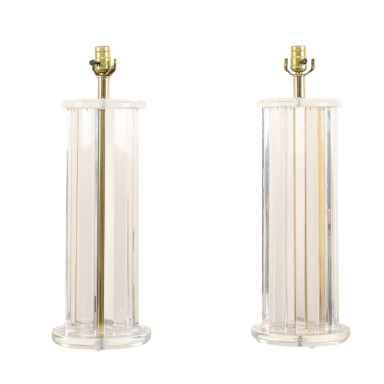 Pair of Lucite Mid-20th Century Table Lamps with Round Shape and Gold Tones