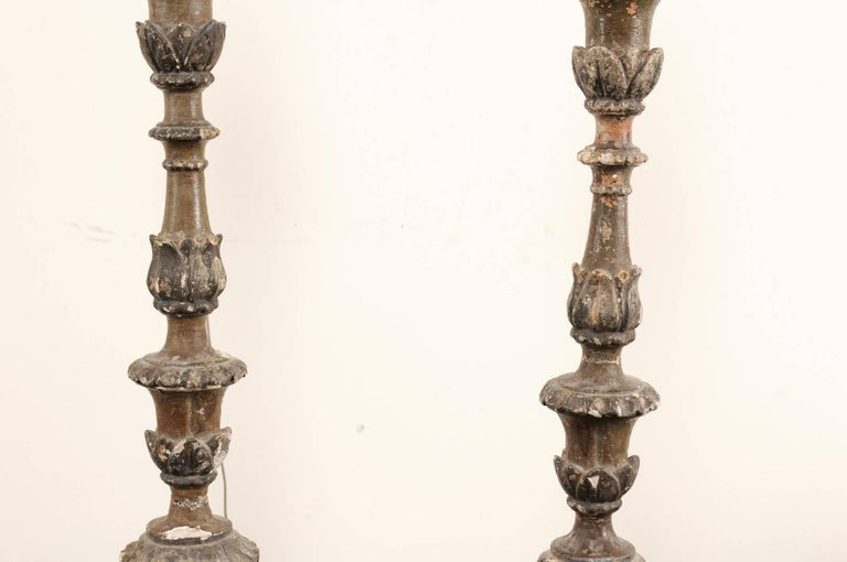 Pair of Italian 18th Century Wood Altar Sticks, Made Tall and Thin Table Lamps For Sale 1