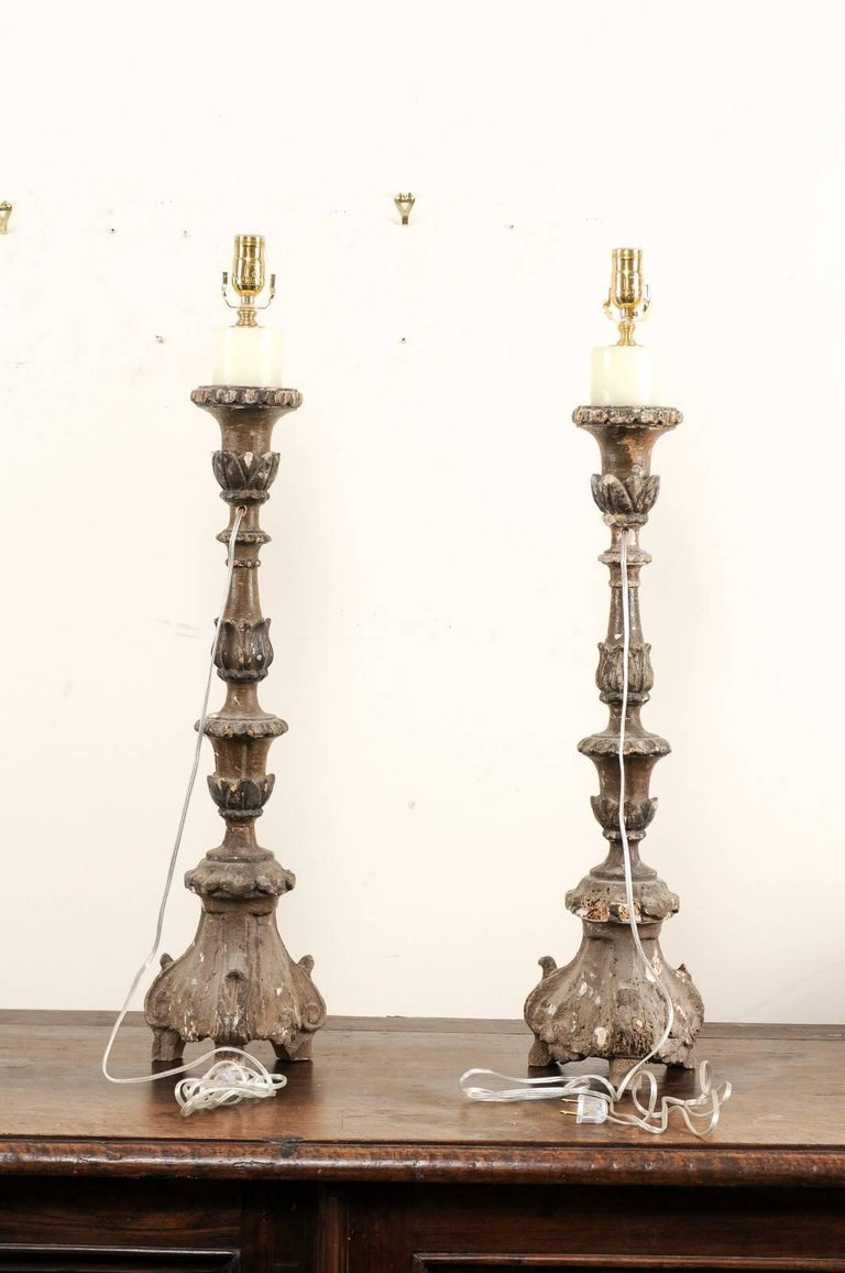Pair of Italian 18th Century Wood Altar Sticks, Made Tall and Thin Table Lamps In Good Condition For Sale In Atlanta, GA