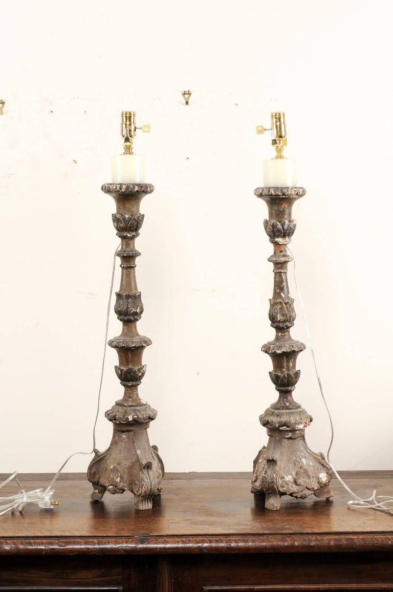 Carved Pair of Italian 18th Century Wood Altar Sticks, Made Tall and Thin Table Lamps For Sale