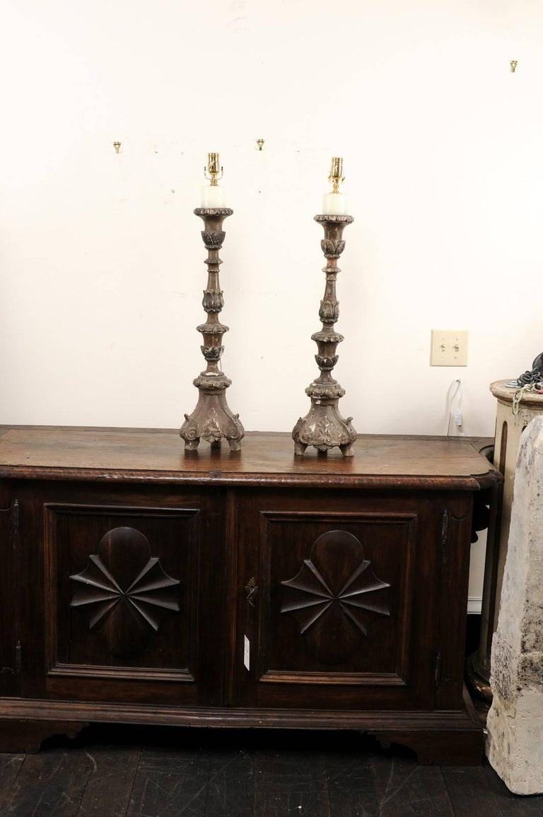 Pair of Italian 18th Century Wood Altar Sticks, Made Tall and Thin Table Lamps For Sale 3