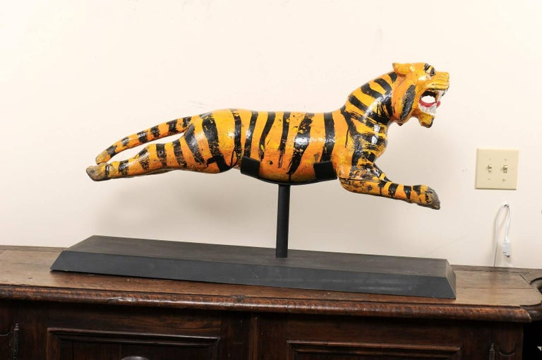 Wood Merry-go-round Tiger from Burma Myanmar Asia, 20th Century For Sale