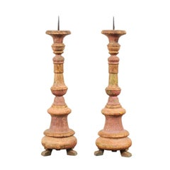 Pair of Portuguese 19th Century Wood Candlesticks with Original Paint