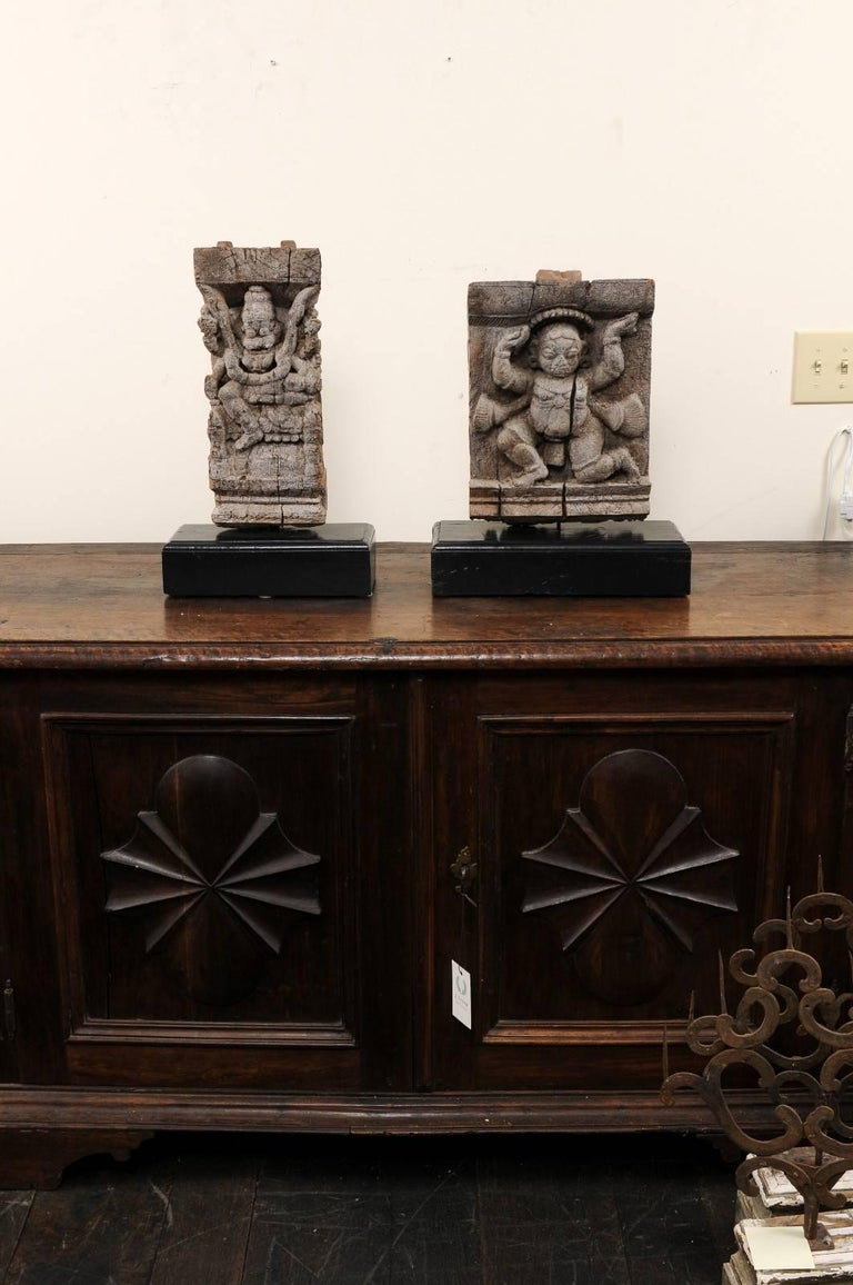 Pair of 19th Century Carved Wood Hindu Temple Fragments from a Temple in India For Sale 4