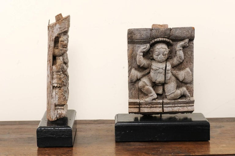 Pair of 19th Century Carved Wood Hindu Temple Fragments from a Temple in India For Sale 1