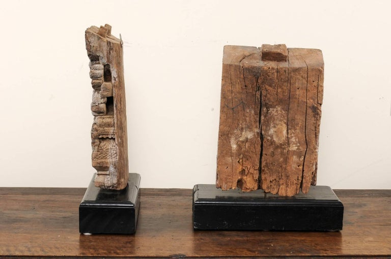 Pair of 19th Century Carved Wood Hindu Temple Fragments from a Temple in India For Sale 2