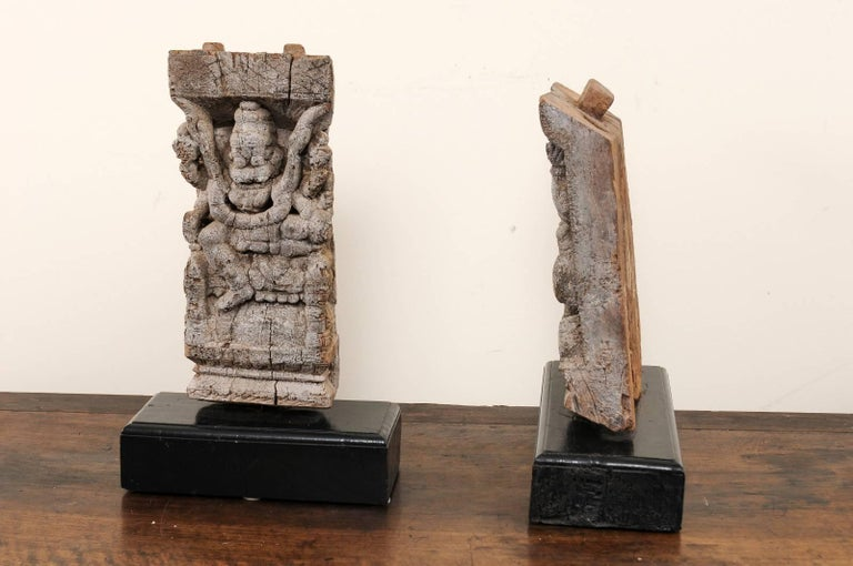 Pair of 19th Century Carved Wood Hindu Temple Fragments from a Temple in India For Sale 3