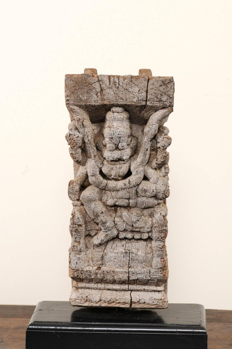 Rustic Pair of 19th Century Carved Wood Hindu Temple Fragments from a Temple in India For Sale