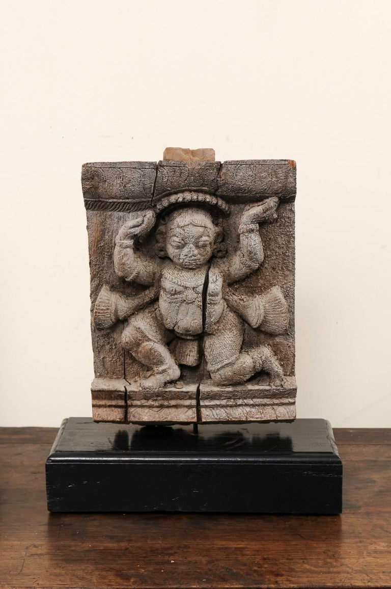 Indian Pair of 19th Century Carved Wood Hindu Temple Fragments from a Temple in India For Sale