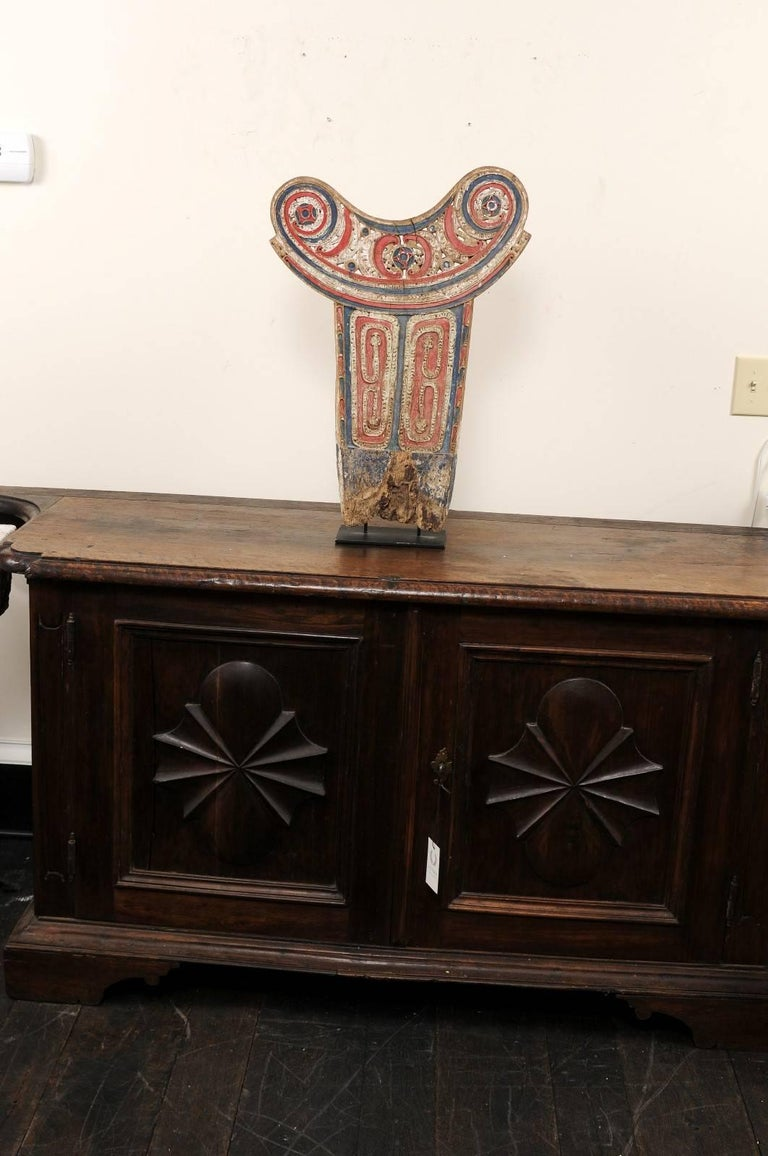 Vintage Carved and Painted Wood Splash Board from Papua New Guinea For Sale 4