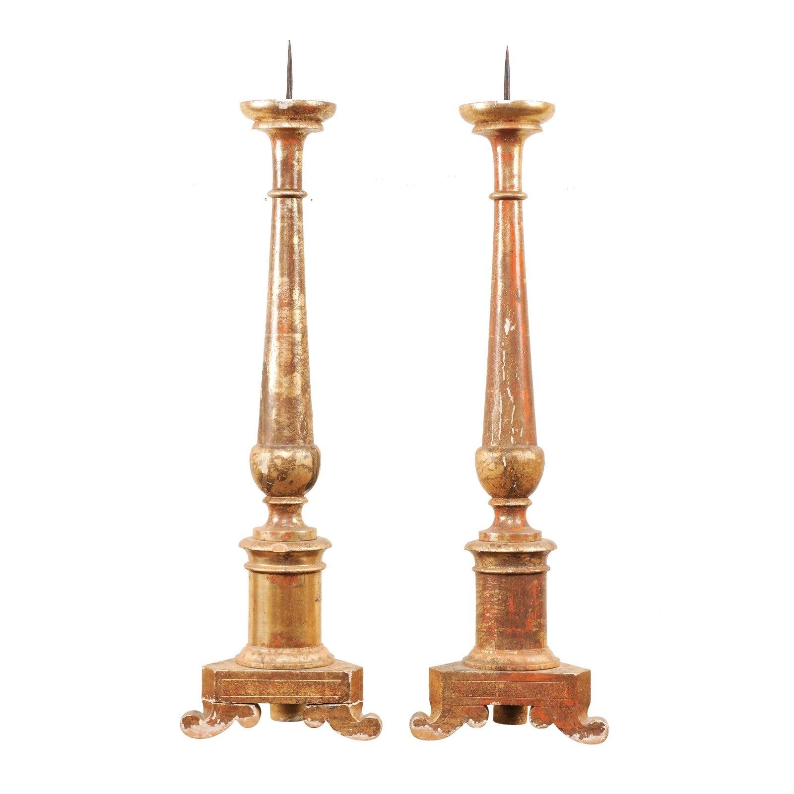 Pair of Italian 19th Century Altar Sticks/Tall Gilded Candlesticks