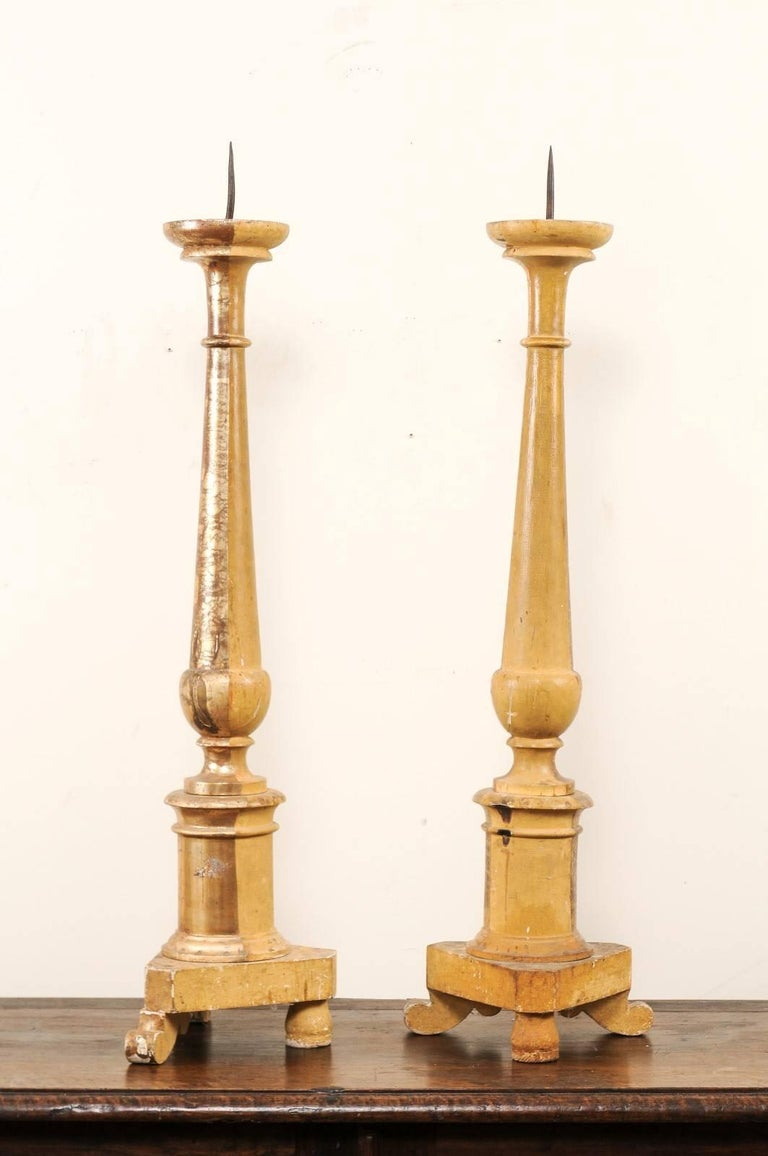 Pair of Italian 19th Century Altar Sticks/Tall Gilded Candlesticks For Sale 3