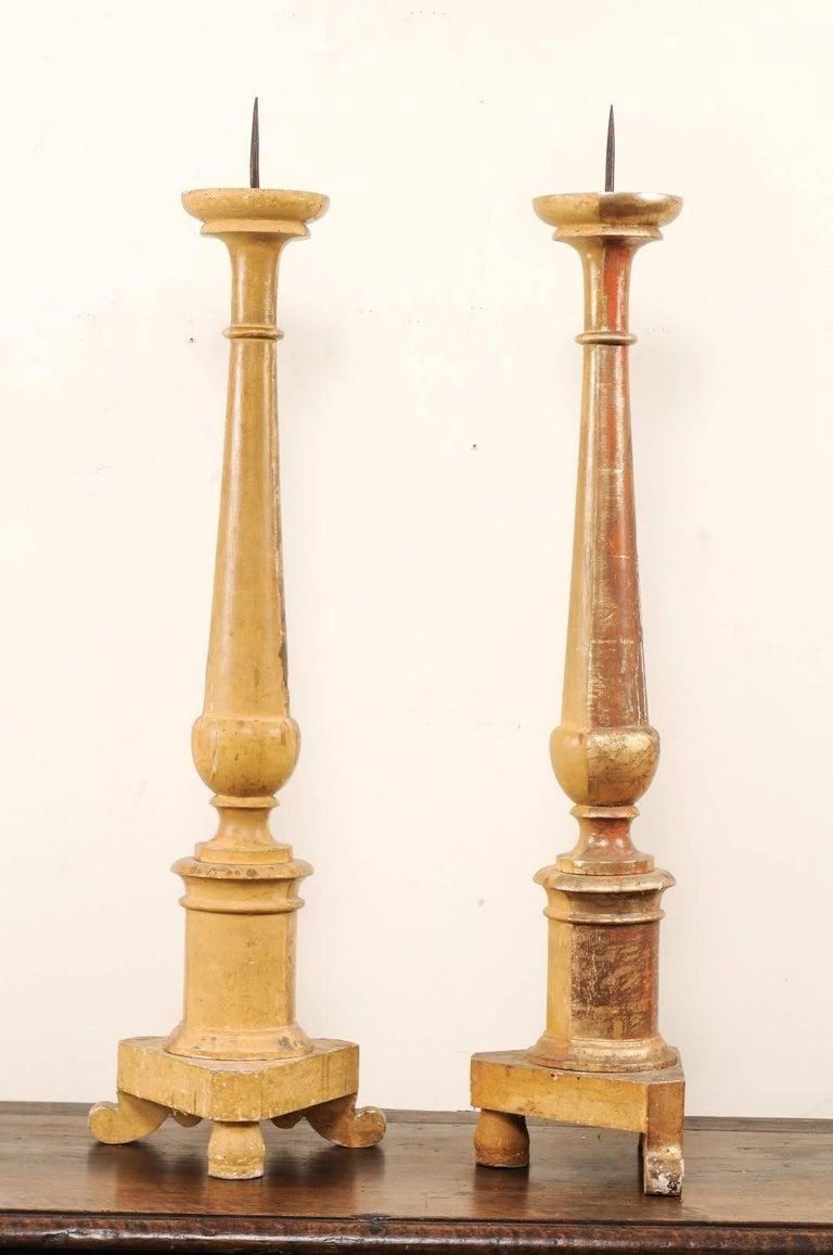 Pair of Italian 19th Century Altar Sticks/Tall Gilded Candlesticks For Sale 2