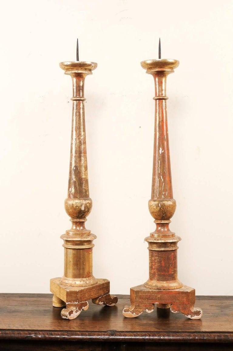 Metal Pair of Italian 19th Century Altar Sticks/Tall Gilded Candlesticks For Sale