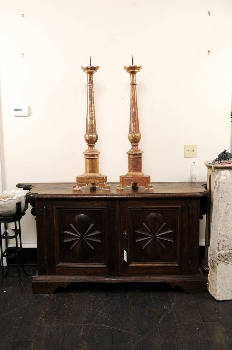 Pair of Italian 19th Century Altar Sticks/Tall Gilded Candlesticks For Sale 5